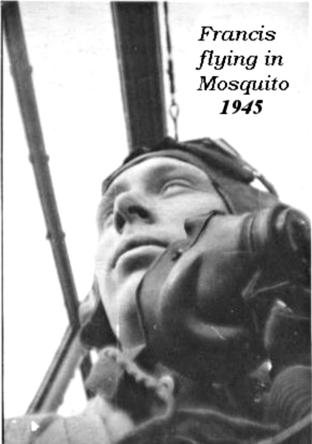 Frank Damerell flying in Mosquito Night Fighter during the Second World War in 1945.