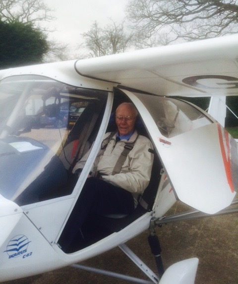 War Veteran Frank Damerell's 90th birthday flying trip to Bosham when he took control of an aircraft. Frank Damerell was a Night Fighter Navigator during World War Two.