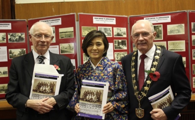 The Japanese Red Cross at Netley, 1915-16. Celebrating the launch of The Japanese Red Cross at Netley, 1915-16 (from left to right) author Dr Gordon Daniels, Miyuki Morioka from The Japan Society and Mayor of Eastleigh, Cllr Des Scott.