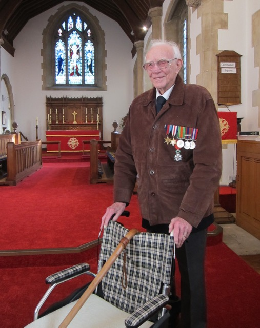 Frank Damerell - 92-year-old veteran from Chandler's Ford, at St. Boniface Church on the Remembrance Sunday service, 2016.