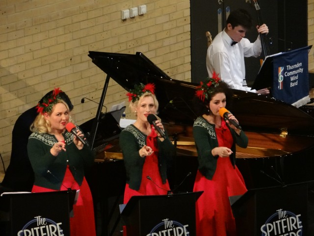 Thornden Community Wind Band performing Christmas concert with The Spitfire Sisters, at Thornden Hall, 2016.