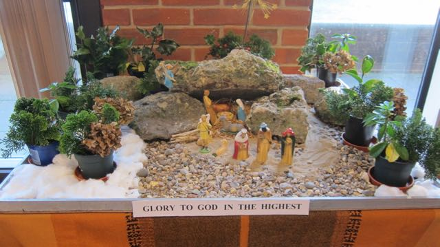 The Nativity scene created by Jane Archer, from Chandler's Ford Metodist Church.