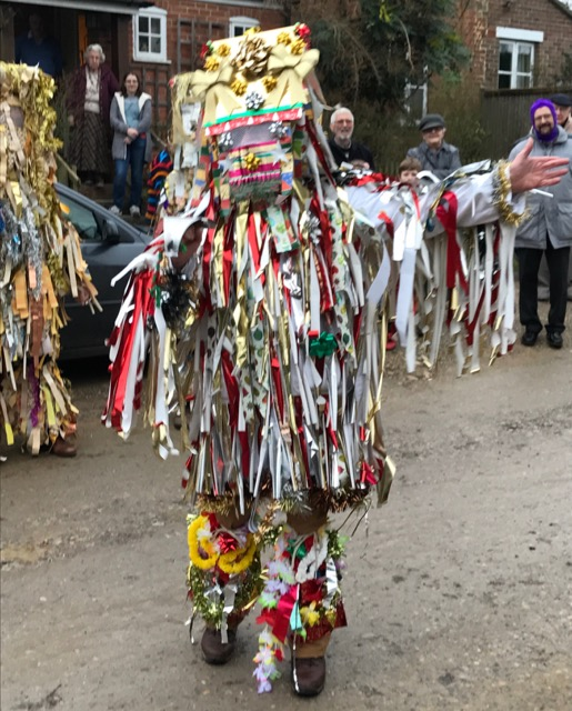 The Otterbourne Mummers performing the traditional Mummers Play in Otterbourne, Christmas 2016. Image credit: Sujata Gopinath.