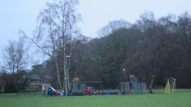 Valley Park by Monks Brook - many trees had been cut down. Valley Park play area.