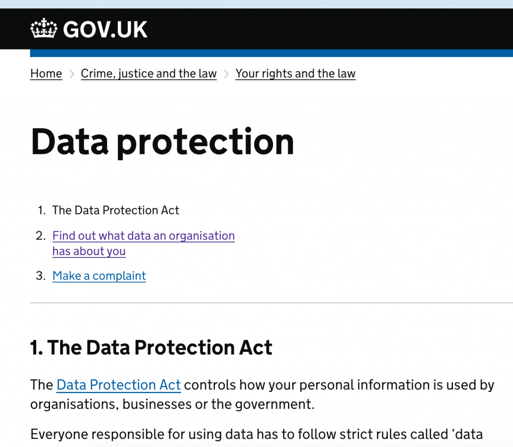 Gov UK: Data Protection Act