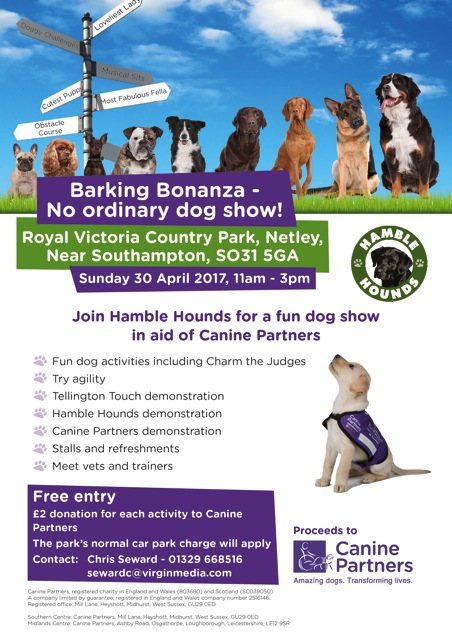 Barking Bonanza 2017 Sunday 30th April, Royal Victoria Country Park