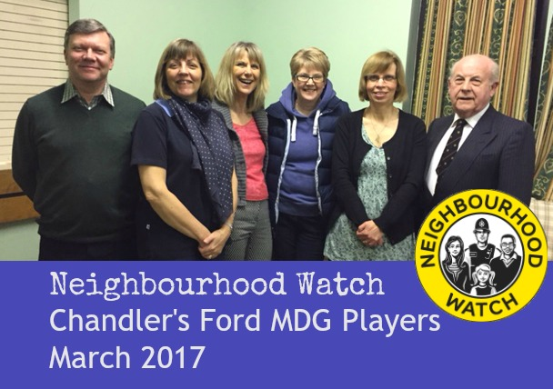 Neighbourhood Watch cast -Chandler's Ford MDG Players, March 2017.