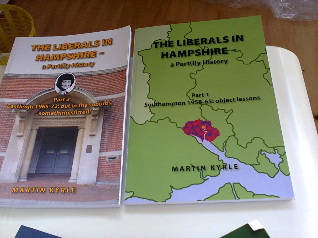 Martin's local history books regarding the Liberal Democrats in our area. Image taken by me