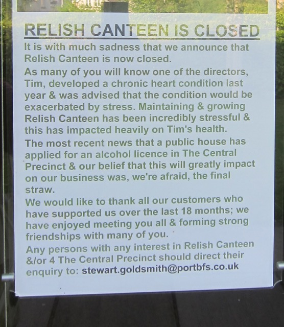 Relish Canteen at the Central Precinct in Chandler's Ford has closed.