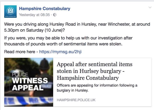 Witness Appeal: burglary on Hursley Road