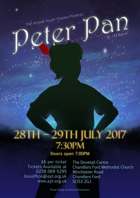 "Peter Pan: 28th - 29th July 2017 by Arcade Youth Theatre at the Dovetail Centre. Poster designed by local artist, <a href=""http://naariel.artstation.com/"">Naariel Illustrations</a>."