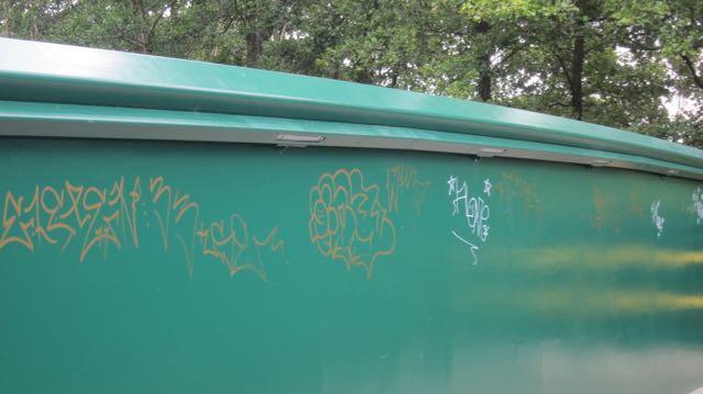 graffiti on footbridge