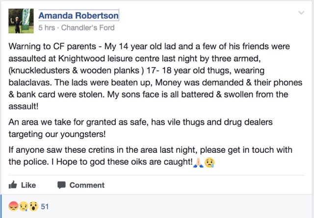 Warning from a local mum about an assult on young people in the local area.