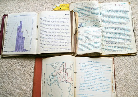 Old exercise books - image via Pixabay