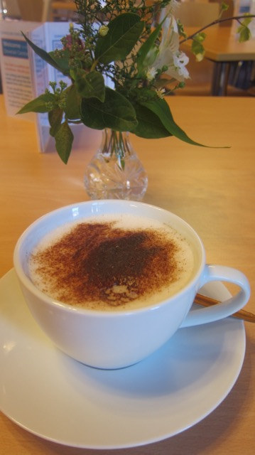 My first cappuccino at Dovetail Centre Café.