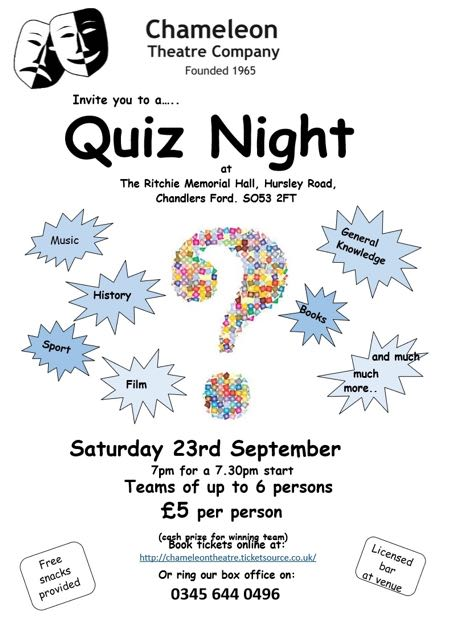 quiz night Chameleon Theatre 2017