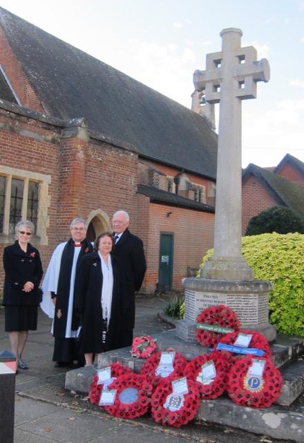 Cllr Margaret Atkinson, Revd. Ian Bird, Cllr Des Scott, and his wife Ve Scott.