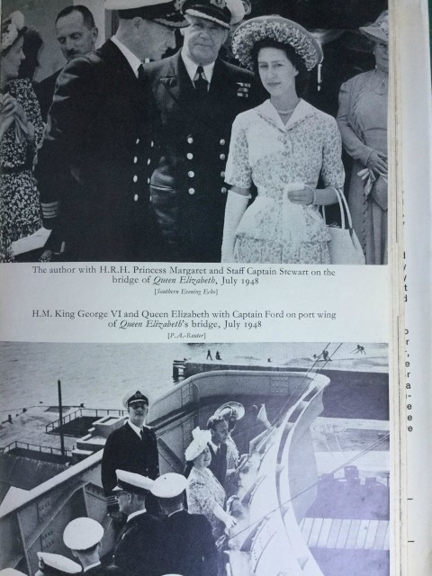 My Father on the bridge of the QE1 with members of the Royal Family. Image from Graham MacLean