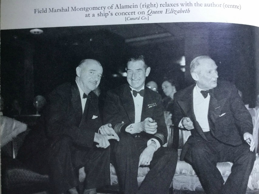 My Father entertaining Field Marshal Earl Montgomery of Alamein on QE1. Image via Graham MacLean