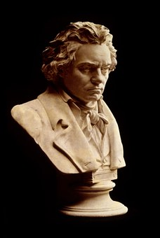 Beethoven, possibly not in one of his more cheery moods - image via Pixabay