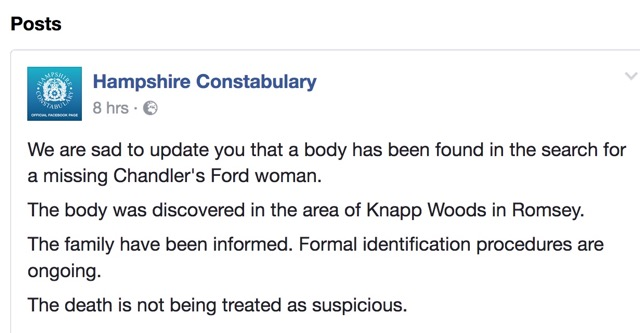 Update from Hampshire Constabulary
