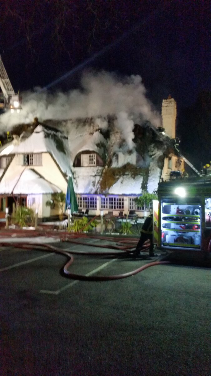 The Potters Heron Hotel in Ampfield, Romsey, this evening. Image by Hampshire Fire Service.