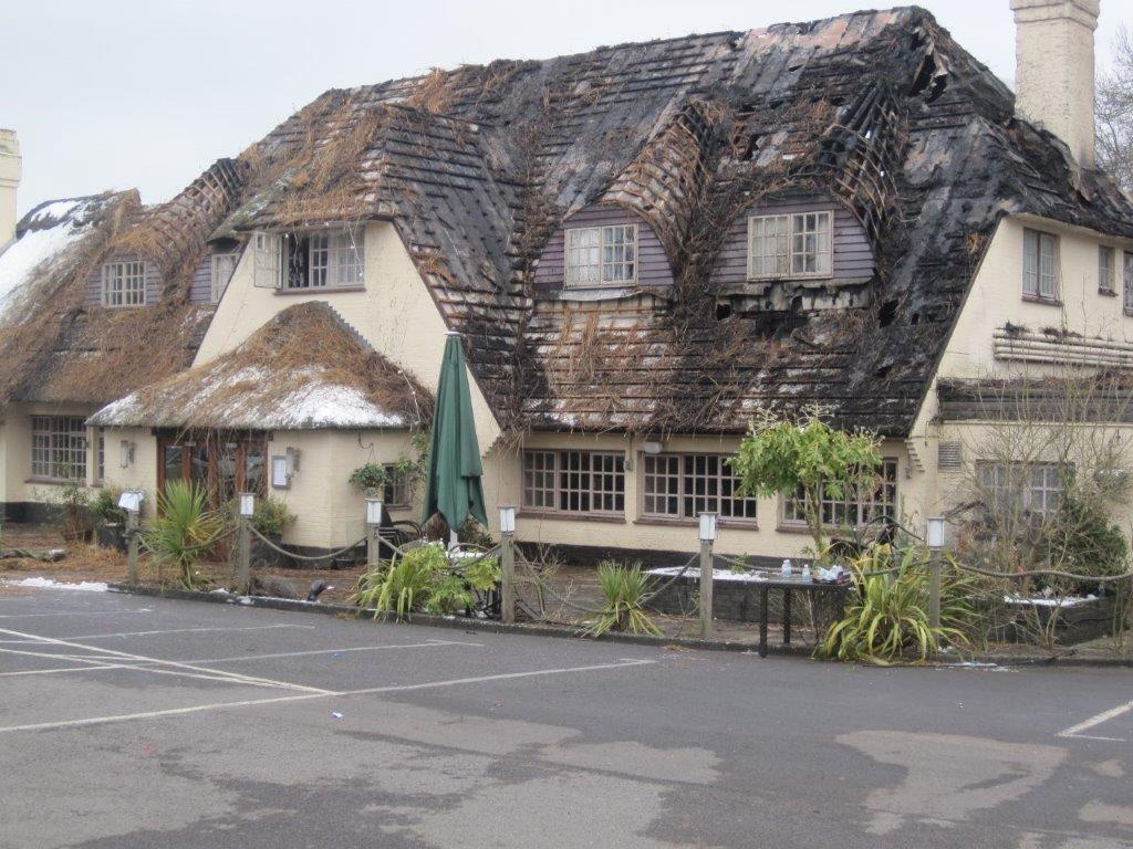After the fire: the Potters Heron Hotel. Image credit: Robbie Sprague