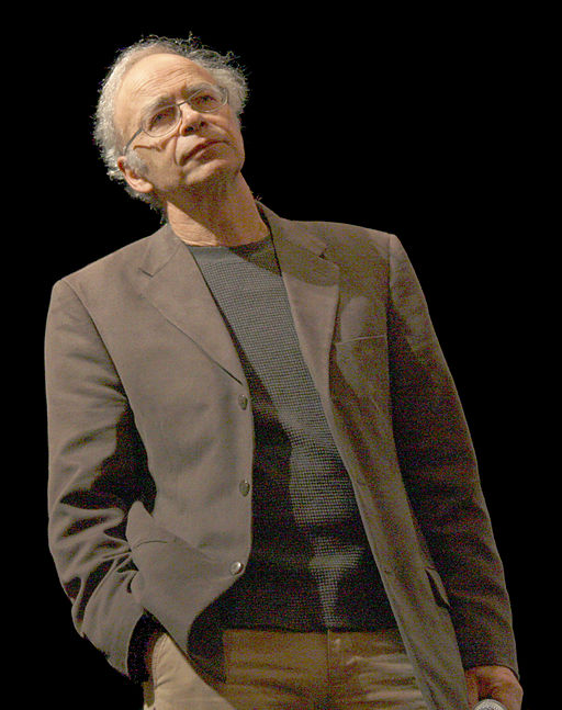 "Peter Singer. Image by Bbsrock (Own work) [CC BY-SA 3.0 } via <a href=""https://commons.wikimedia.org/wiki/File:Singer1.jpg"">Wikimedia Commons </a>."