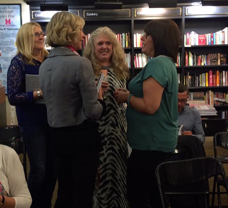 A photo of me networking, at the launch of the Retreat West anthology, What Was Left, in Waterstones, Reading, 2017, with Amanda Saint, far right, and Jo Derrick, second from right.