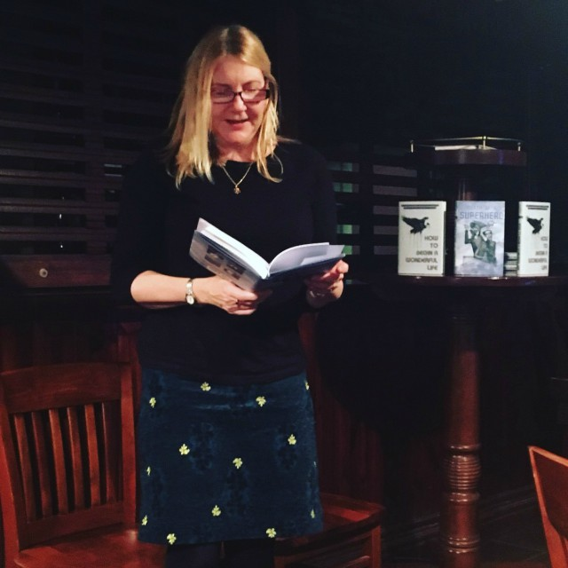 Amanda Huggins reading from the Ink Tears showcase anthology Death of a Superhero at the launch party in London December 2017