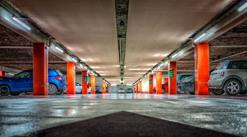 Car park. I hate multi-storeys. they're often so dark, but spacing is not exactly generous here, is it? Image via Pixabay