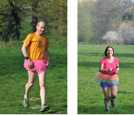 two tutu-clad runners