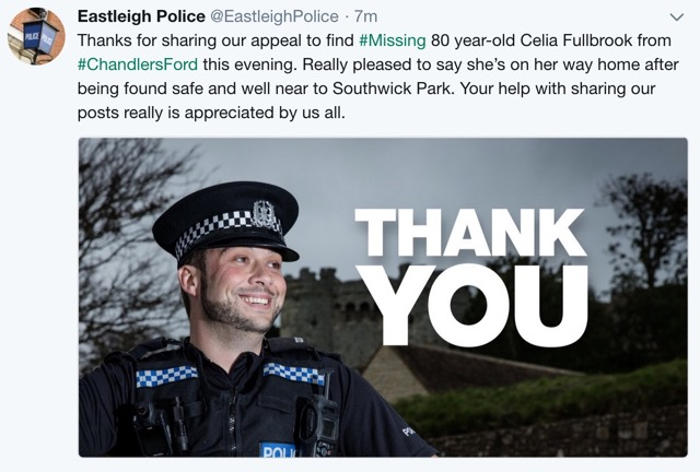 Eastleigh Police thank you note