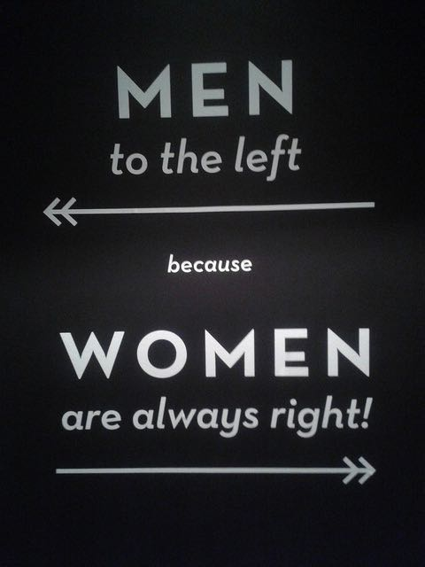 Toilet Sign: MEN to the left ← because WOMEN are always right! → . Image by Duncan Hull via Flickr.