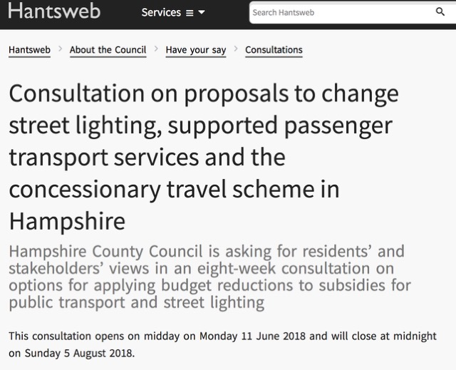 Consultation on proposals to change street lighting, supported passenger transport services and the concessionary travel scheme in Hampshire