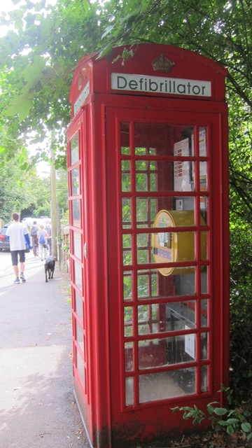 A defibrillator in a phone box - what a great idea.