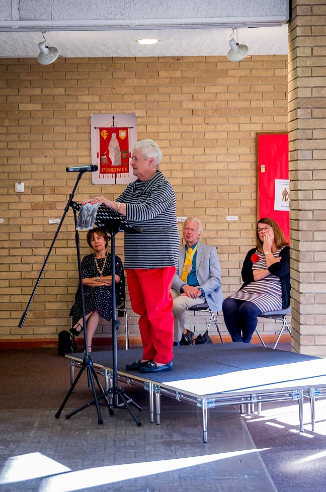 Barbara Hillier at the book launch - sharing stories about her great uncle Wilfred Herbert Hillier. Image credit: Debbie Pearce Photography