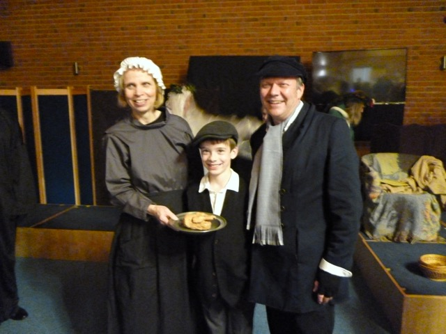 Mr and Mrs Cratchit and Tiny Tim. Image kindly provided by Mike Standing.