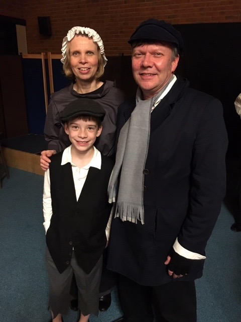 Bob Cratchit (Mike Slatcher), Mrs Cratchit (Christine Slatcher), and Tiny Tim (James Greenham).