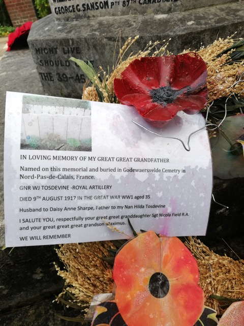 A moving note for Gunner William Joseph Tosdevine (51103) - Chandler's Ford war memorial 2018