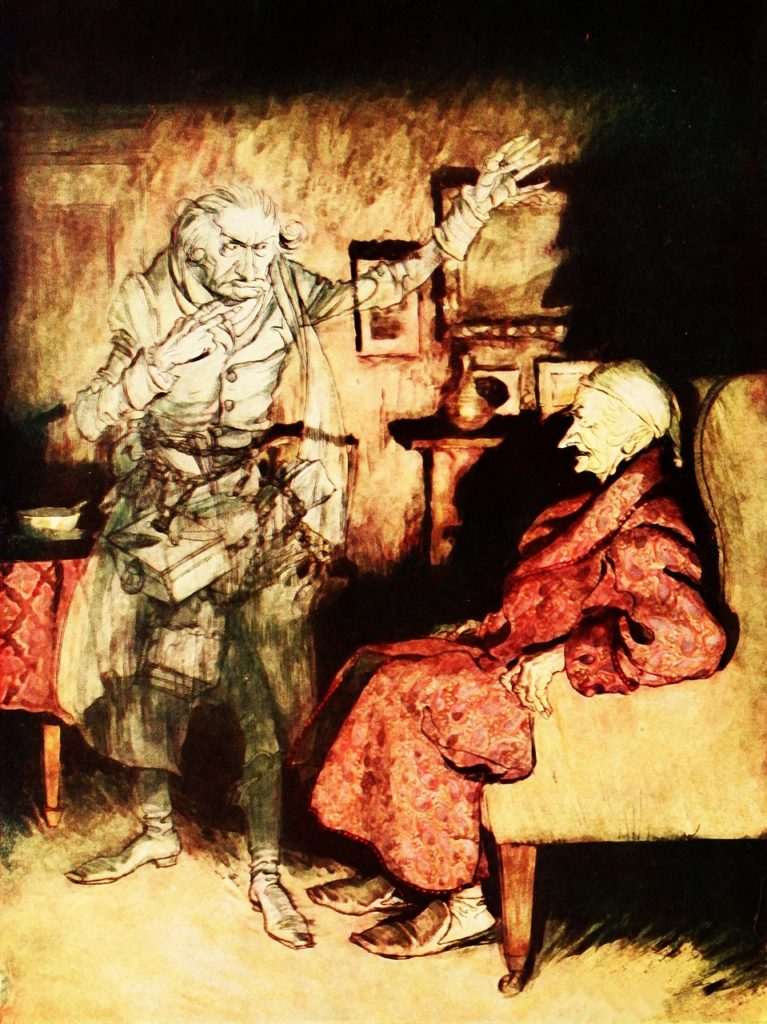 Jacob Marley comes back to visit Scrooge - Pixabay
