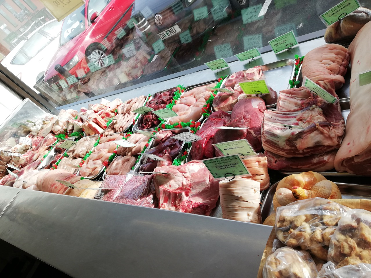 Fresh meats from our traditional butcher, Charles Baynham.