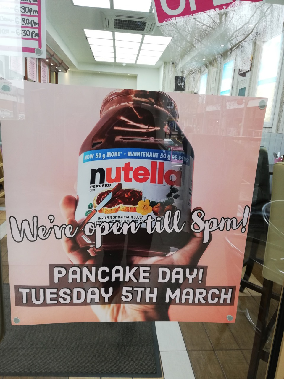 Great news! Which shop is this will open late on Pancake Day?