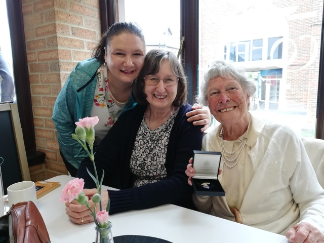 Audrey Steele (right) with friends Wendy and Lesley, at Wells Place Centre, Eastleigh Baptist Church.