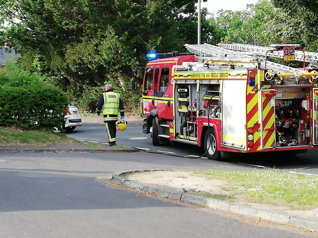 Police and fire engine at the scene of the road accident on Hursley Road.