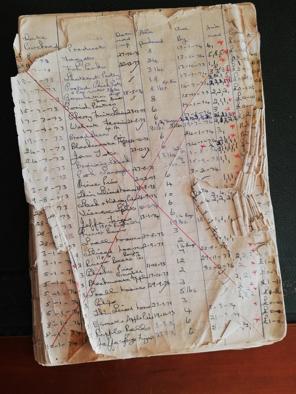 Iris' freezer book - page 1, recording started in 1973.