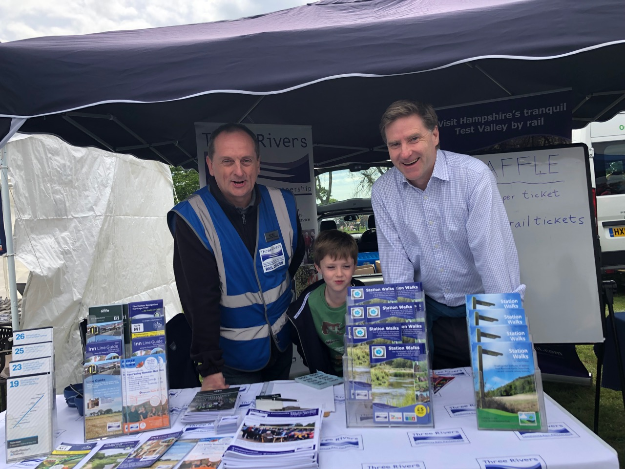 Steve Brine MP (and son William) with Mark Miller of Three Rivers Rail