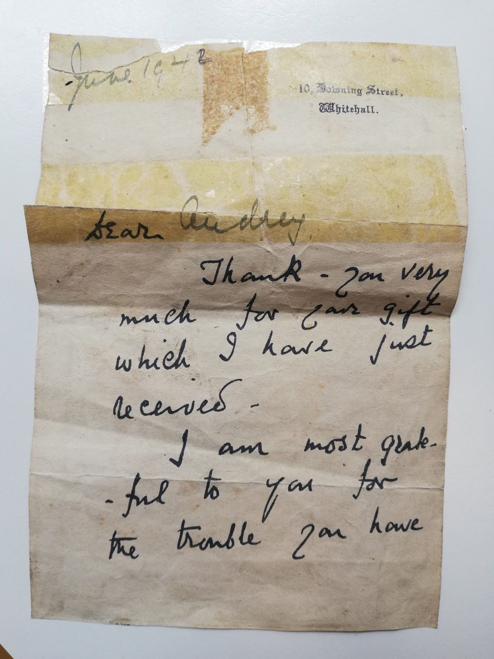 Handwritten letter from Clementine Churchill to Audrey Steele in June 1942. Part 1.