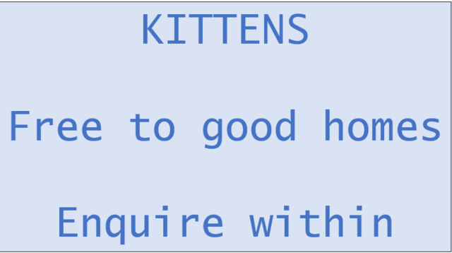Kittens free to good home notice