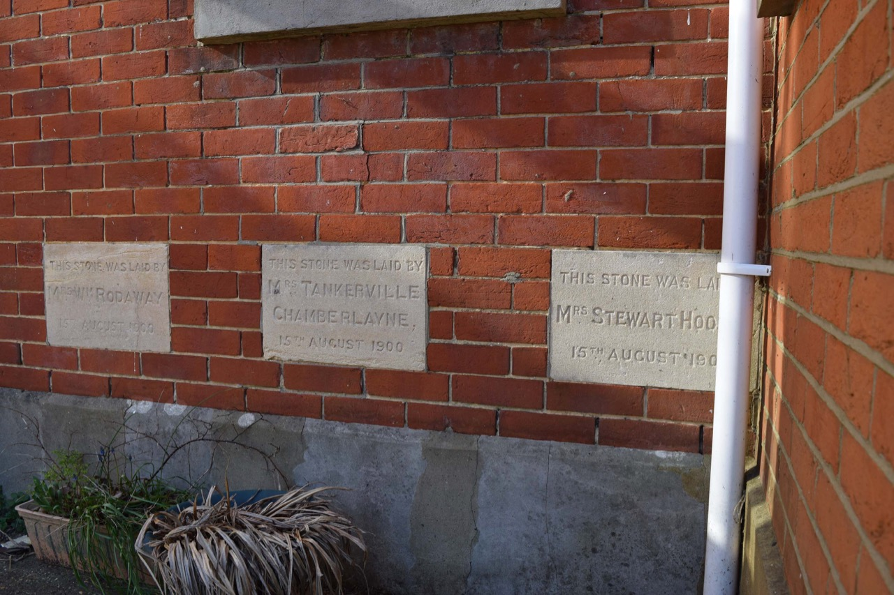 The foundation stones at the Methodist Chapel.